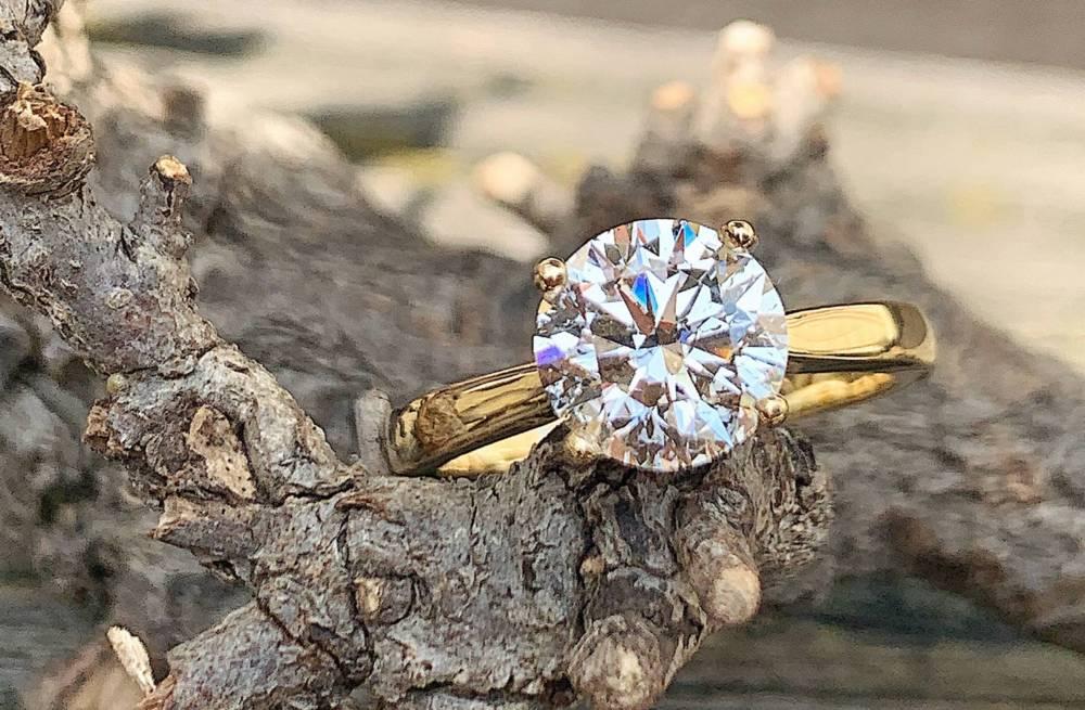 solitair ring verloving diamant geelgoud